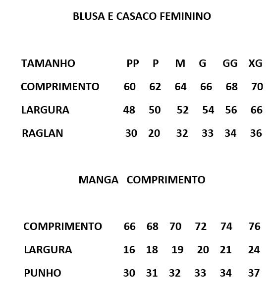 Tabela de Medidas Malharia Romano Feminino