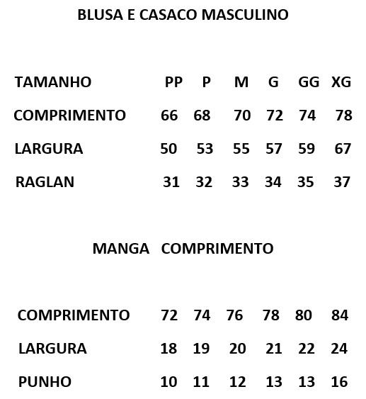 Tabela de Medidas Malharia Romano Masculino